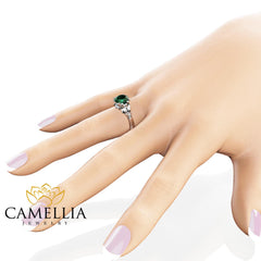 Emerald Petal Engagement Ring 14K White Gold Petal Ring 2 Carat Natural Emerald Engagement Ring