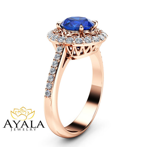 Halo Sapphire Engagement Ring Diamond Halo Ring 14K Rose Gold Vintage Blue Sapphire Ring Unique Filigree Engagement Ring