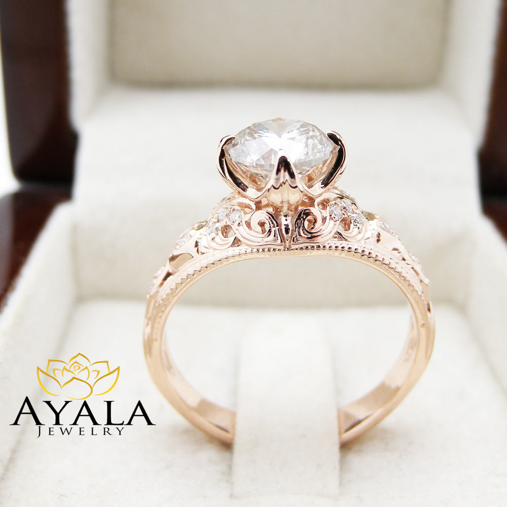 Large Diamond Engagement Ring 14K Rose Gold Filigree Diamond Ring Diamond Wedding Ring Vintage Engagement Ring