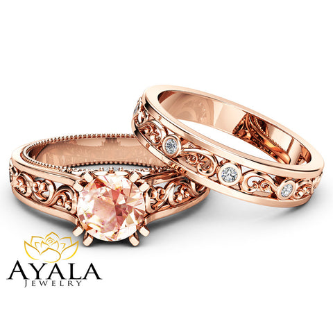 Art Deco Morganite Bridal Ring Set  14K Rose Gold Engagement Rings Filigree Styled Bridal Ring Set