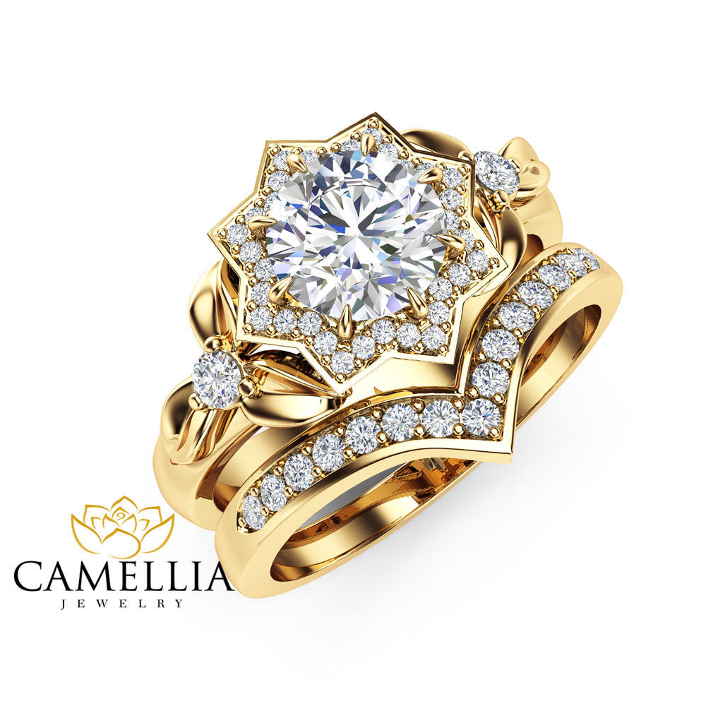 Natural diamond engagement ring set 14k yellow gold flower rings natural diamond engagement ring set 14k yellow gold flower rings 075ct diamond engagement ring with mightylinksfo