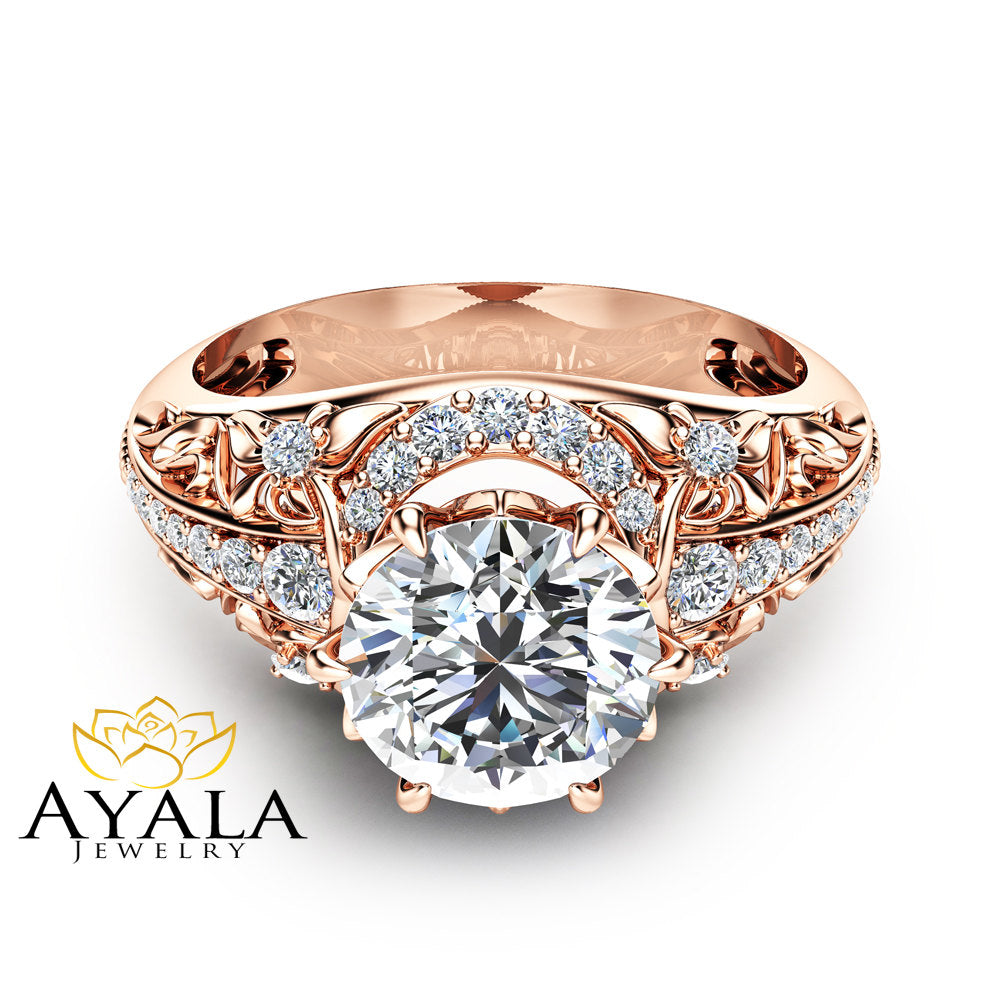 Diamond Engagement Ring Round Cut Diamond Ring Conflict Free Engagement Ring 14K Rose Gold Vintage Ring