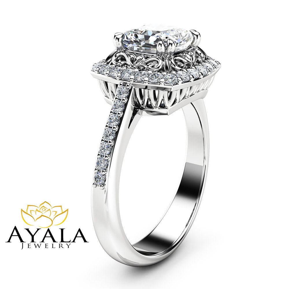 Halo Moissanite Engagement Ring  Filigree 14K White Gold Ring 1 Carat Moissanit Ring Cushion Cut Engagement Ring