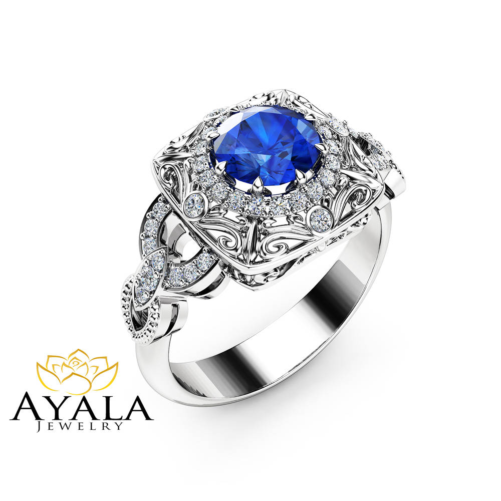 Halo Sapphire Victorian Engagement Ring 14K White Gold Diamond Halo Gemstone Ring Filigree Styled Engagement Ring
