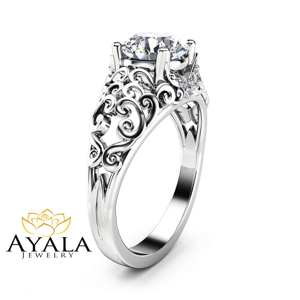 Forever One Moissanite Engagement Ring Unique 14K White Gold Ring Filigree Design Engagement Ring