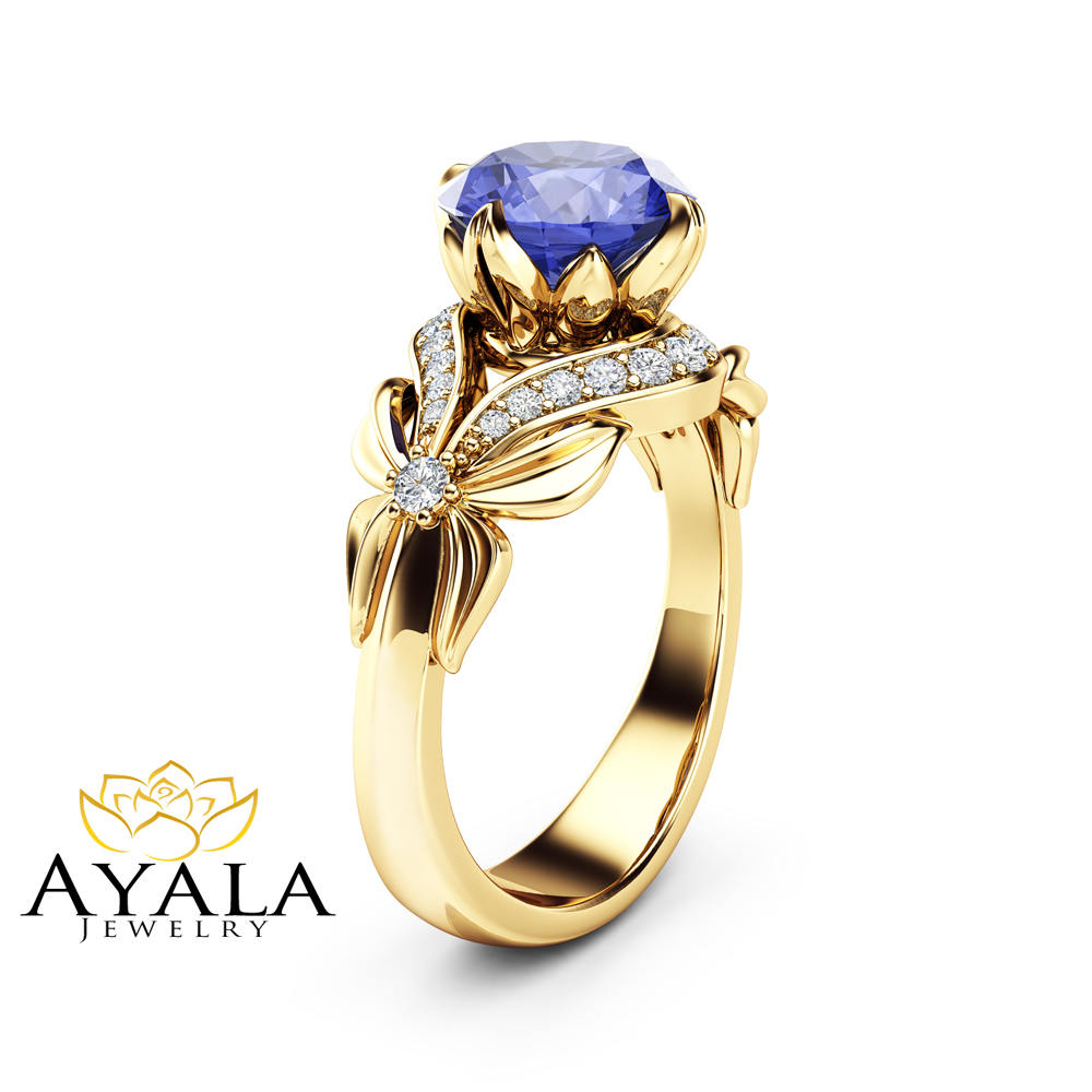 Bluish Violet Tanzanite Engagement Ring Natural Tanzanite Ring 14K Yellow Gold  Unique Engagement Ring