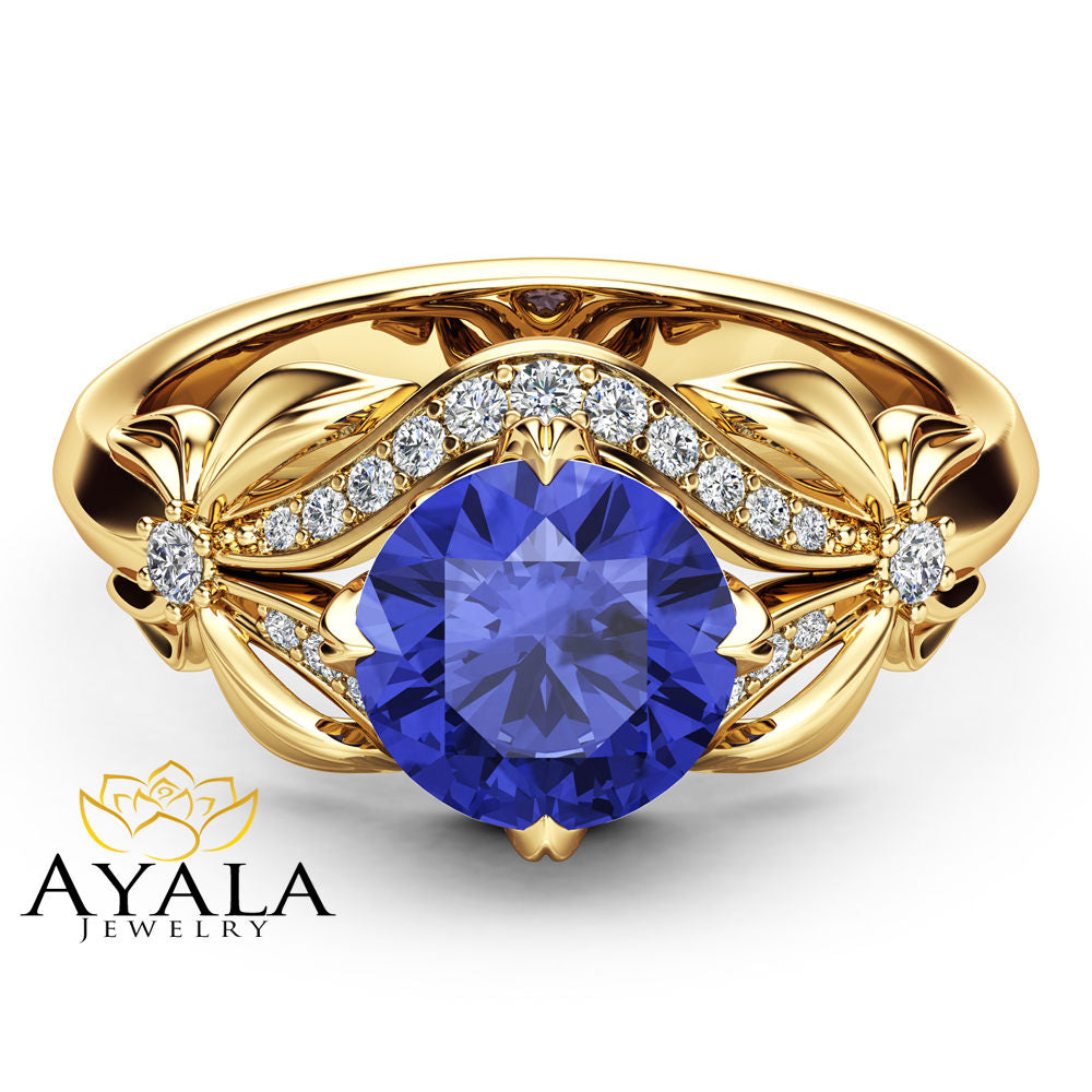 ring pink gold natural white stone tanzanite products thee sapphires