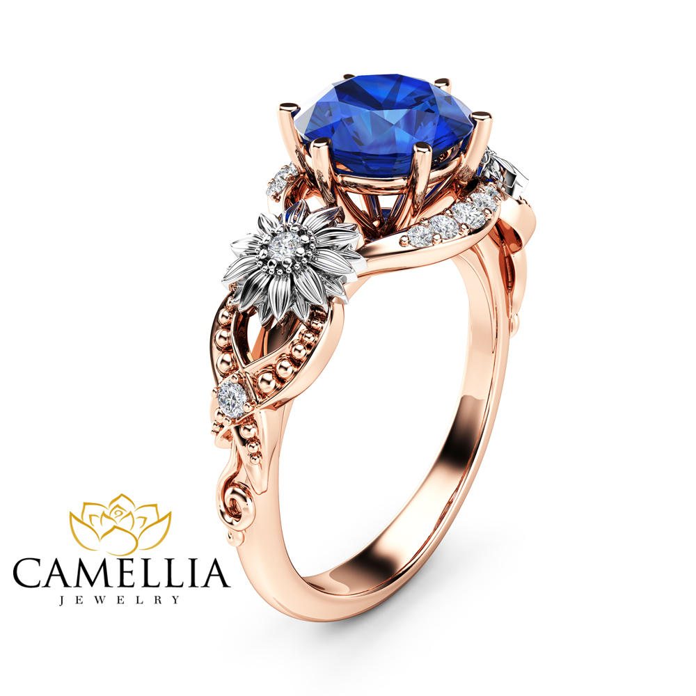 ring gold design rings diamond sapphire white wedding engagement round safire antique blue