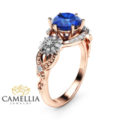 Sunflower Blue Sapphire Engagement Ring 14K Two Tone Gold Engagement Ring Sapphire Sunflower Ring
