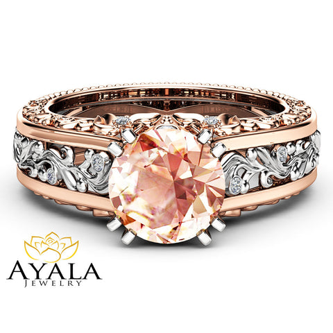 Natural Morganite Engagement Ring 14K White and Rose Gold Engagement Ring  2 Carat Morganite Vintage Ring