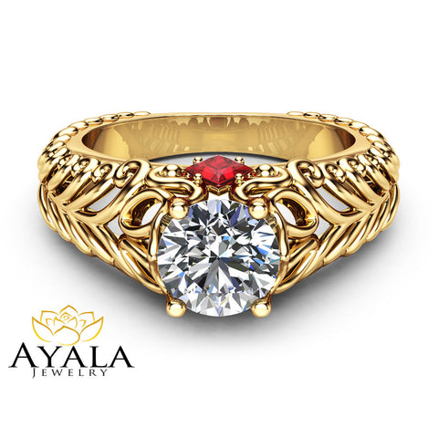 Unique Filigree Engagement Ring 14K Yellow Gold Ring Princess Rubys Forever One Moissanite Engagement Ring