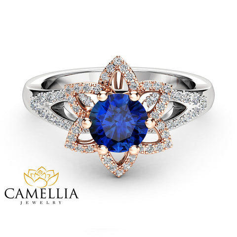 Blue Sapphire Floral Engagement Ring  14K Two Tone Gold Sapphire Ring with Diamonds Half Eternity Engagement Ring