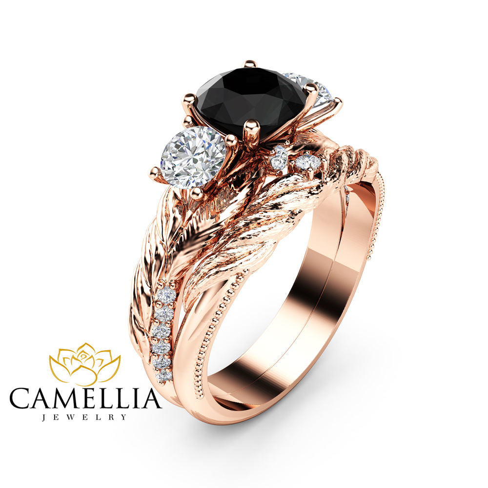 engagement wedding ring rings carat amelia black gold diamond rose products setting