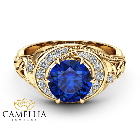 Blue Sapphire Halo Engagement Ring 14K Yellow Gold Filigree Ring Natural Sapphire Engagement Ring