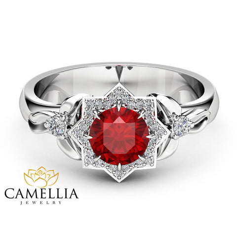 Halo Ruby Engagement Ring 14K White Gold Flower Ring 0.80CT Natural Ruby Engagement Ring