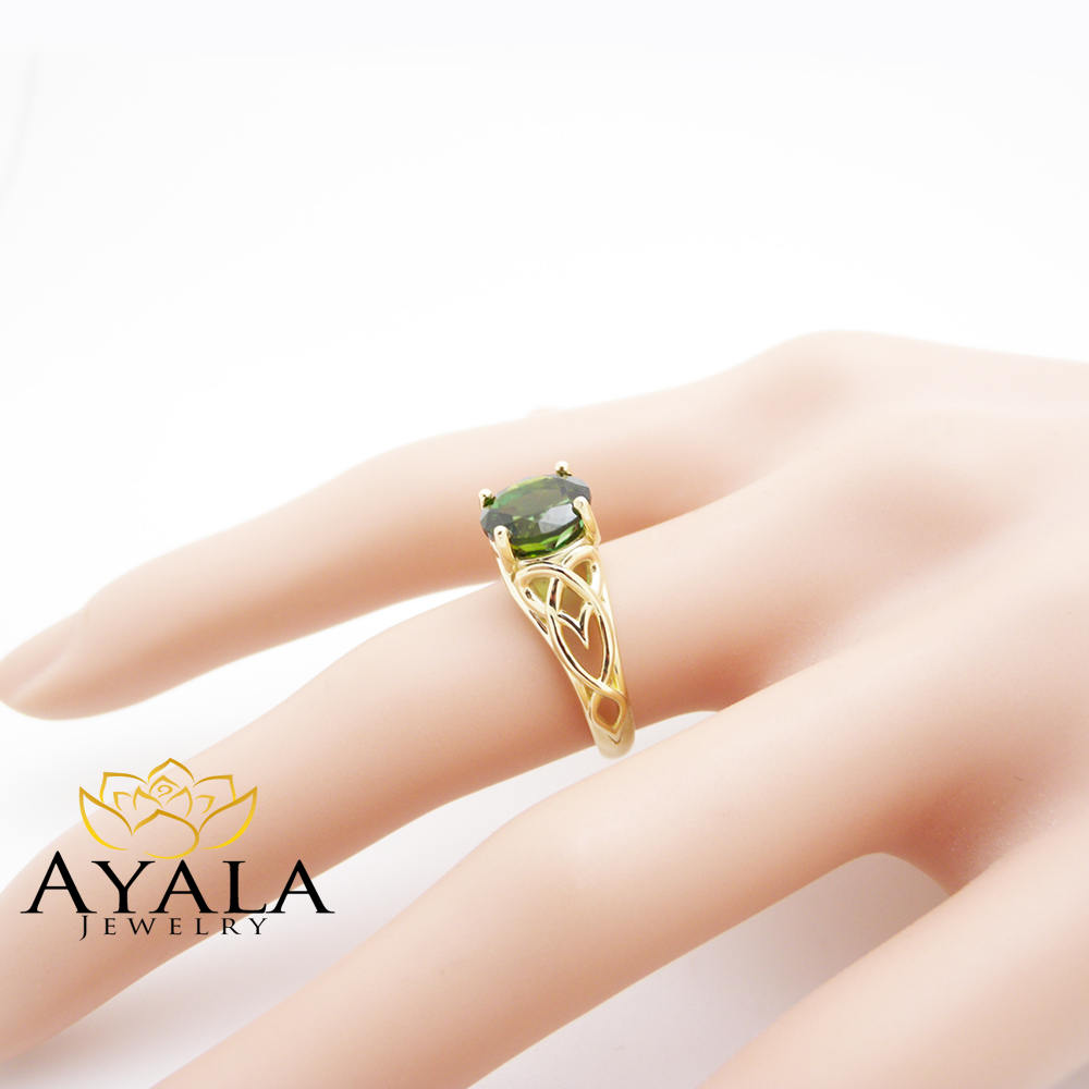 8.5mm Tourmaline Engagement Ring Solitaire Tourmaline Swirl Ring 14K Yellow Gold Engagement Ring