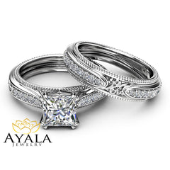 Victorian Princess Moissanite Bridal Set 14K White Gold Ring Set Unique Engagement Wedding Rings