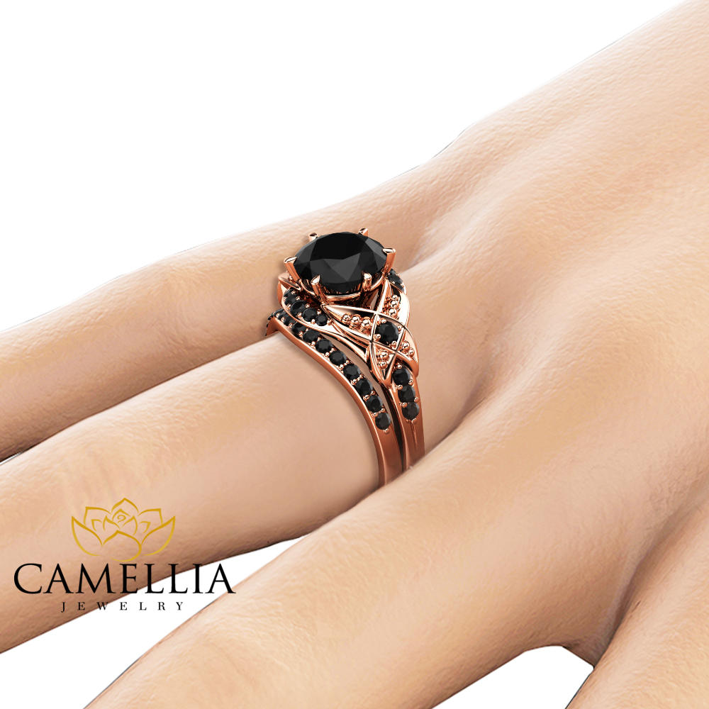 Black Diamond Engagement Ring Set 14K Rose Gold Matching Rings with Black Diamonds Vintage Engagement Rings