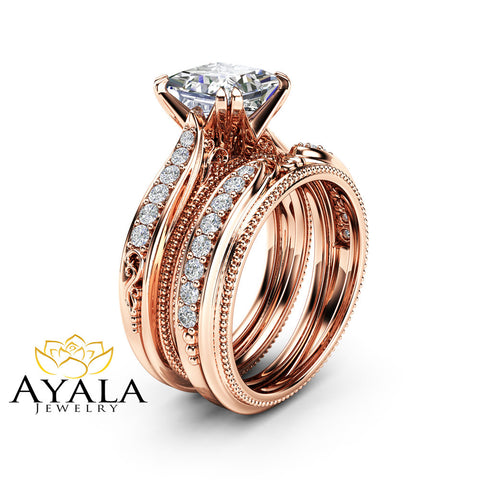 Unique Princess Cut Moissanite Bridal Set 14K Rose Gold Victorian Rings Wedding Ring Set