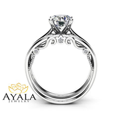 1 Carat Moissanite Bridal Set 14K White Gold Engagement Rings Unique Delicate Design Engagement Ring Set