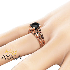 Handmade Black Diamond Engagement Ring 14K Rose Gold Filigree Ring Black Diamond Engagement Ring
