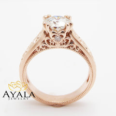 Diamond Wedding Ring 14K Rose Gold Vintage Engagement Ring Unique Filigree Gold Ring Conflict Free Diamond Ring