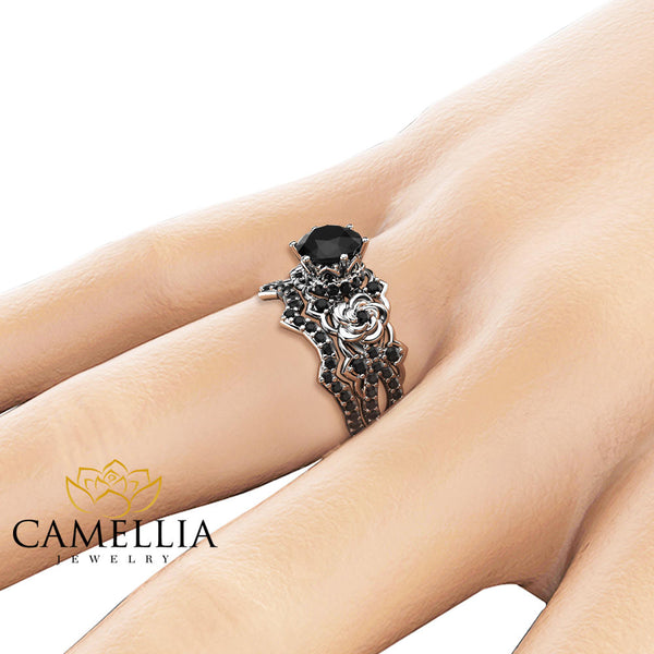1.25CT Black Diamond Engagement Rings Set 14K White Gold