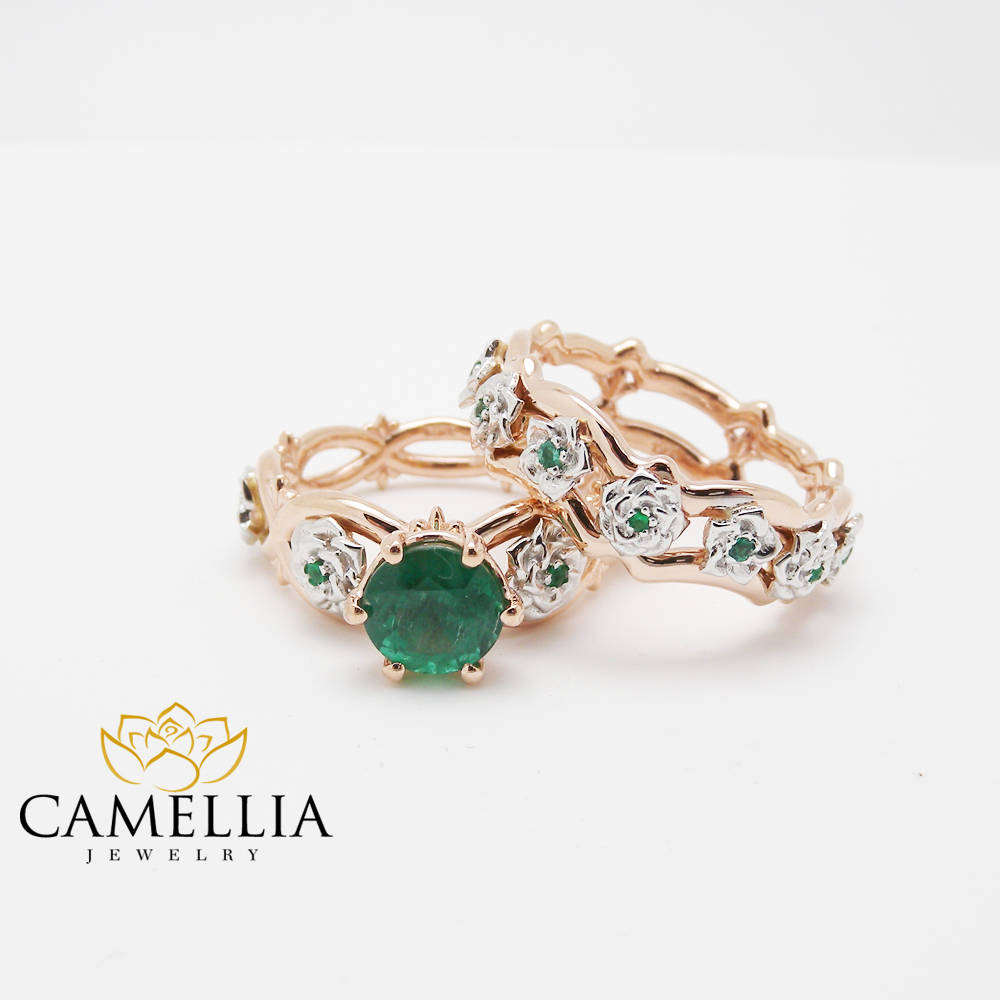 collections set green ring rings emerald original with file gold wedding products engagement