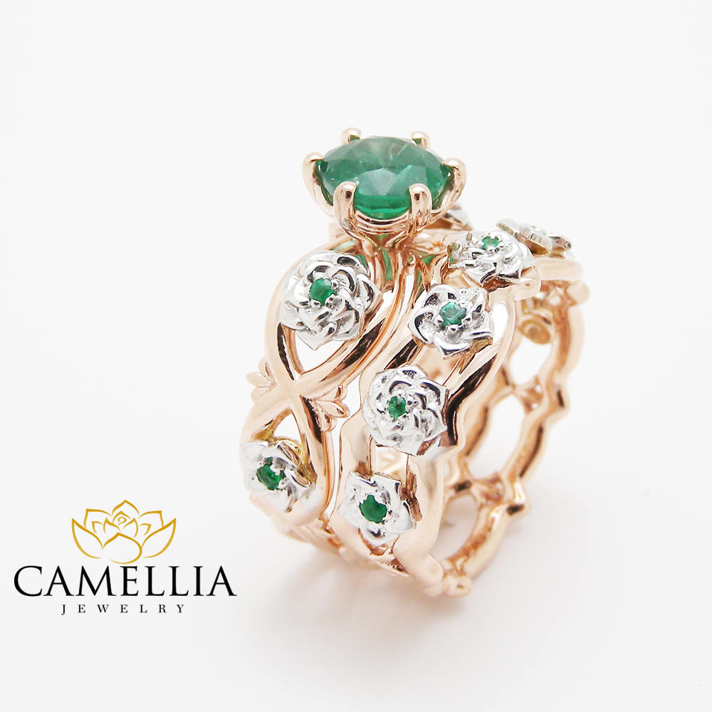 flower ring white rings diamond camellia gold