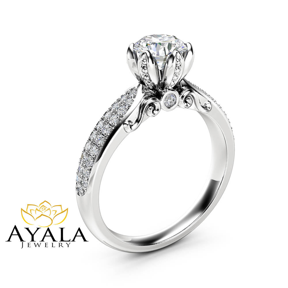 ring round engagement diamond white calista ctw gold rings