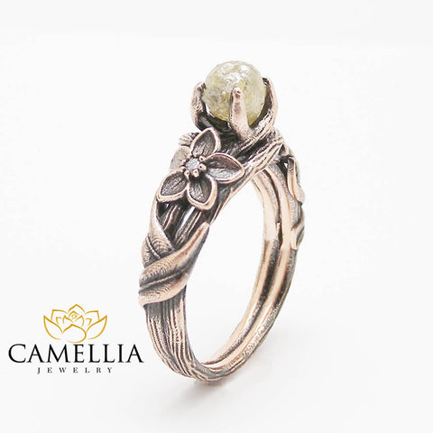 Natural Rough Diamond Engagement Ring 14K Rose Gold Black Plated Branch Ring