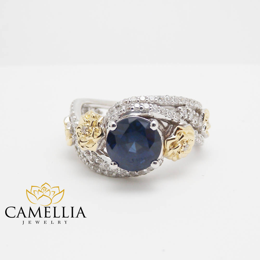diamond cushion on wedding set ring sapphire white designer carat cut and halo gold test