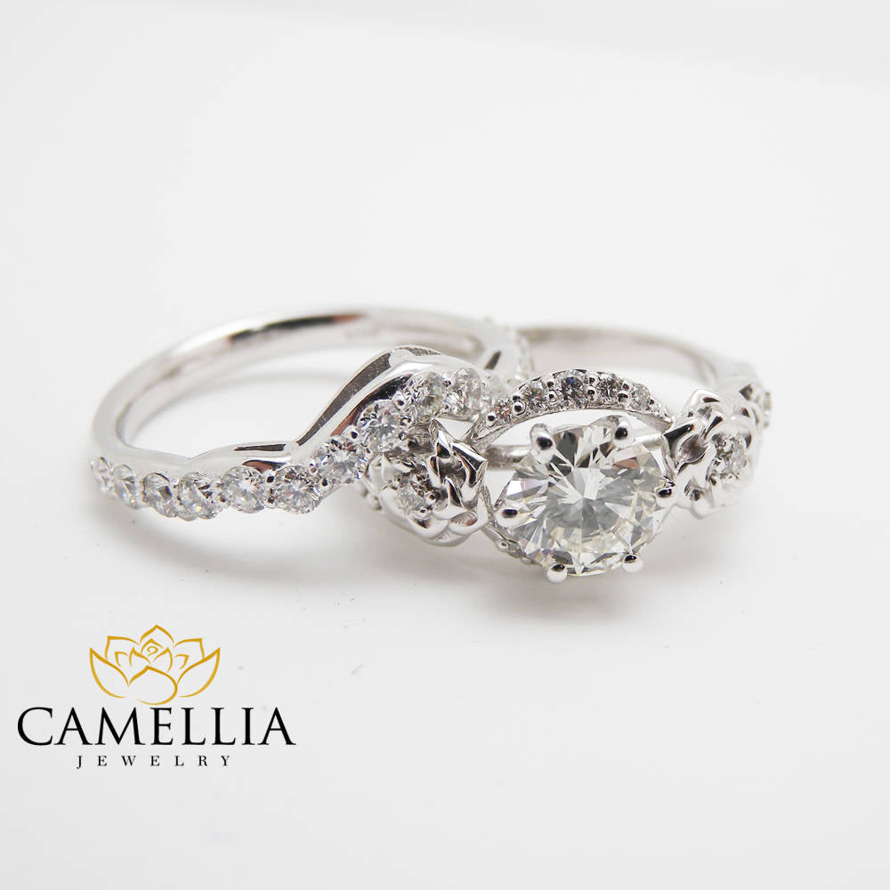 Diamond Engagement Ring Set 14K White Gold Diamond Ring Floral Engagement Ring with Matching Diamond Band