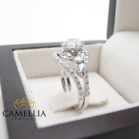 1 Carat Diamond Engagement Ring Conflict Free Diamond Engagement Rings Unique Flower Wedding Ring Set 14K White Gold Promise Ring