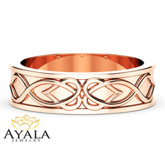 Unique Mens Wedding Band 14K Rose Gold Ring Art Deco Wedding Band For Him Unique Mens Wedding Ring