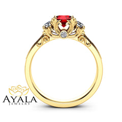 Three Stone Diamond Ruby Engagement Ring 14K Yellow Gold Ring Art Deco Engagement Ring