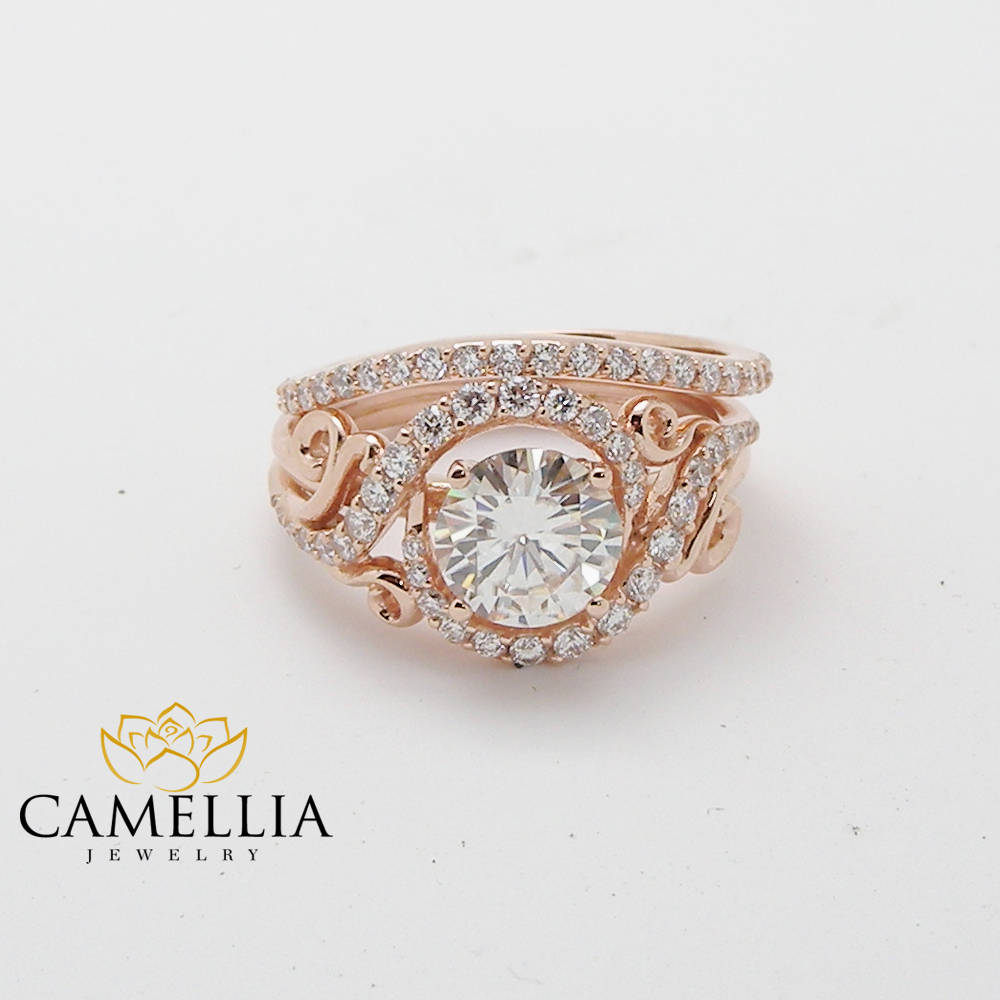 Rose Gold Promise Rings Diamond Engagements Rings Natural Diamond Engagement Ring Set Promise Ring for Her