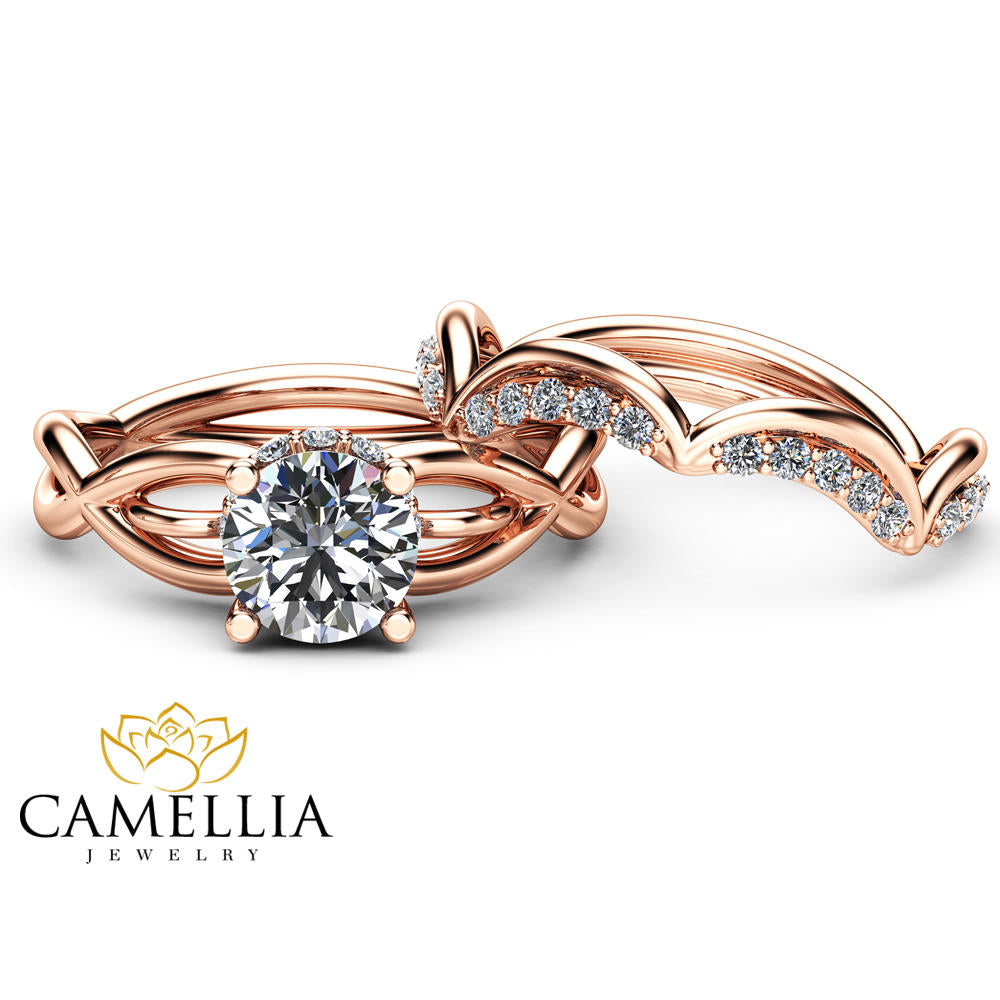 Unique Moissanite Engagement Ring Set Wedding Engagement Rings 14K Rose Gold Ring with Matching Band