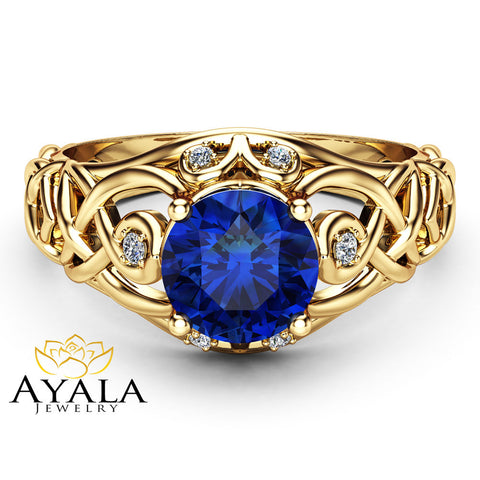 Celtic Blue Sapphire Engagement Ring 14K Yellow Gold Ring Natural Sapphire Engagement Ring