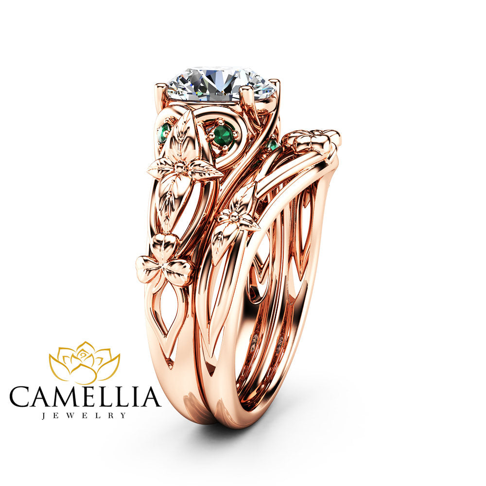 Moissanite Shamrock Celtic Knot Engagement Ring Set 14K Rose Gold  Moissanite Ring Irish Engagement Ring With