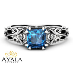 Art Deco Princess Topaz Engagement Ring 14K White Gold Engagement Ring Victorian Blue Topaz Ring