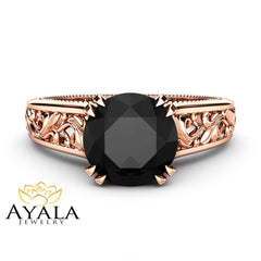Conflict Free Black Diamond Engagement Ring 14K Rose Gold Art Deco Ring Black Diamond Engagement Ring