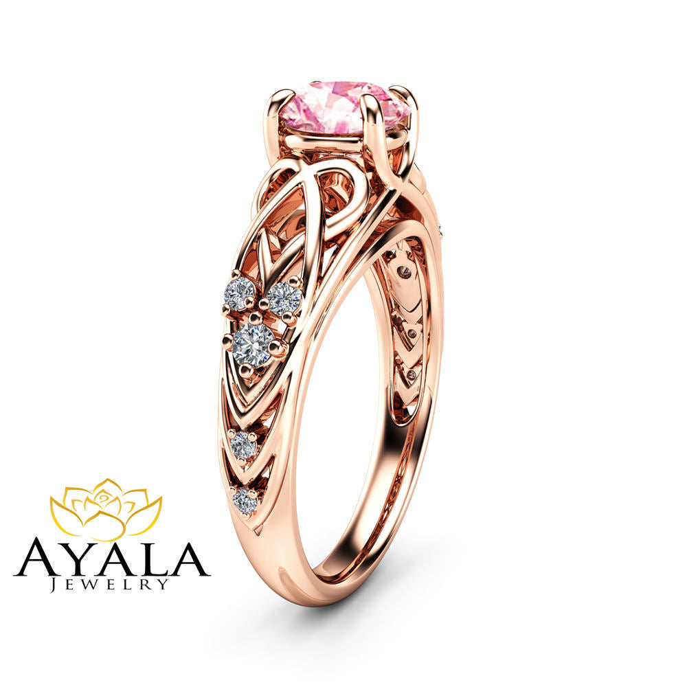 il gold fullxfull pink ring rose moissanite products filigree cuer rings cd celtic engagement