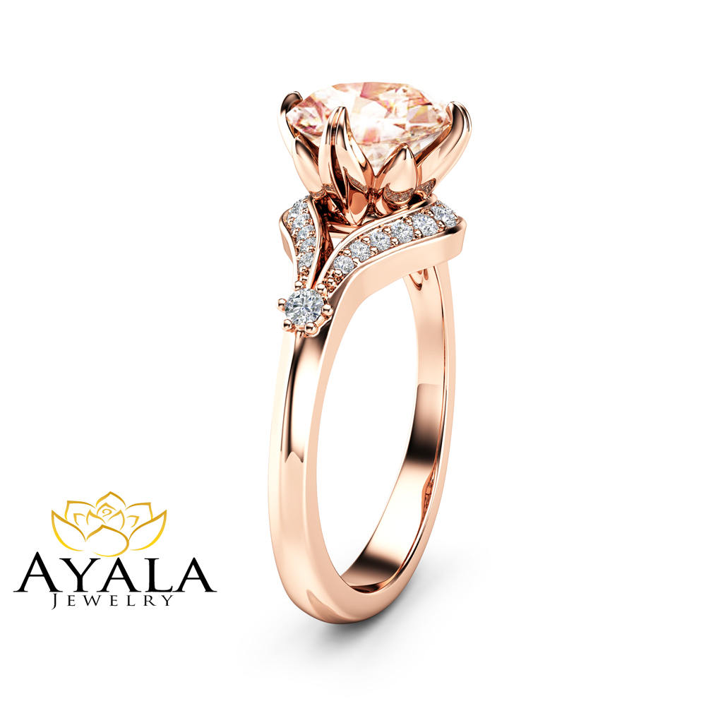 2 Carat Morganite Engagement Ring 14K Rose Gold Engagement Ring Morganite and Diamonds Ring