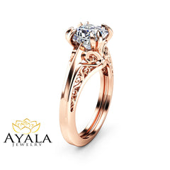 Princess Cut Solitaire Moissanite Engagement Ring Unique 14K Rose Gold Ring Art Deco Designed Ring