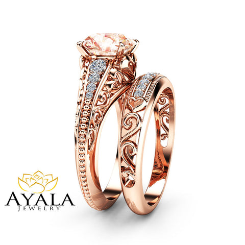 Unique Morganite Bridal Ring Set 14K Rose Gold Filigree Style Engagement Ring Diamonds Matching Band