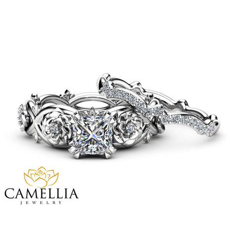 Flower Moissanite Promise Rings Princess Cut Bridal Ring Set Charles and Colvard Wedding Bands Camellia Jewelry