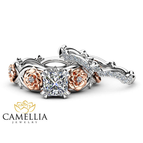 Flower Moissanite Promise Rings Princess Cut Bridal Ring Set Charles and Colvard Two Tone Gold Bands Camellia Jewelry