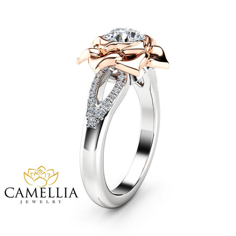 Natural Diamond Ring Two Tone Gold Ring 0.75Ct Diamond Engagement Ring Promise Flower Ring Anniversary Gift