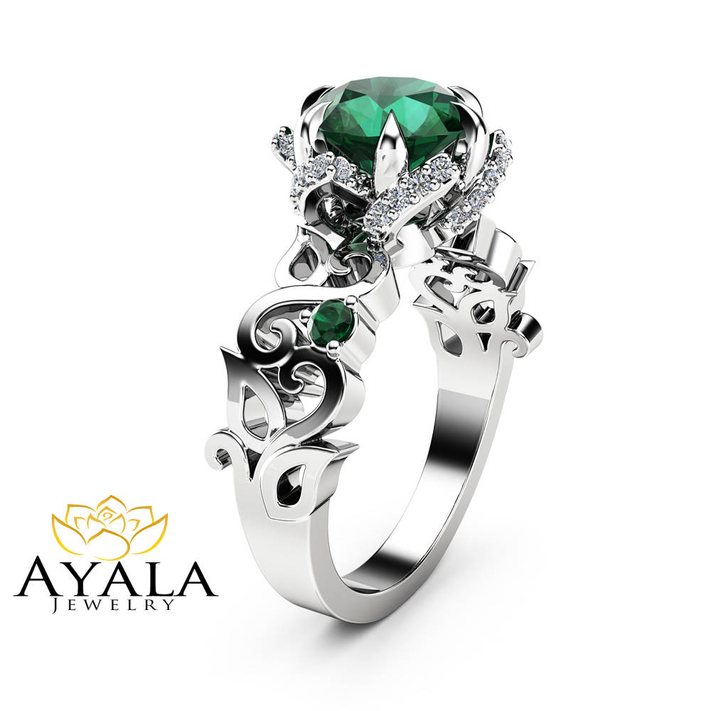 Diamond And Emerald Enement Rings   Twisted Halo Emerald Engagement Ring 14k White Gold Ring Diamonds
